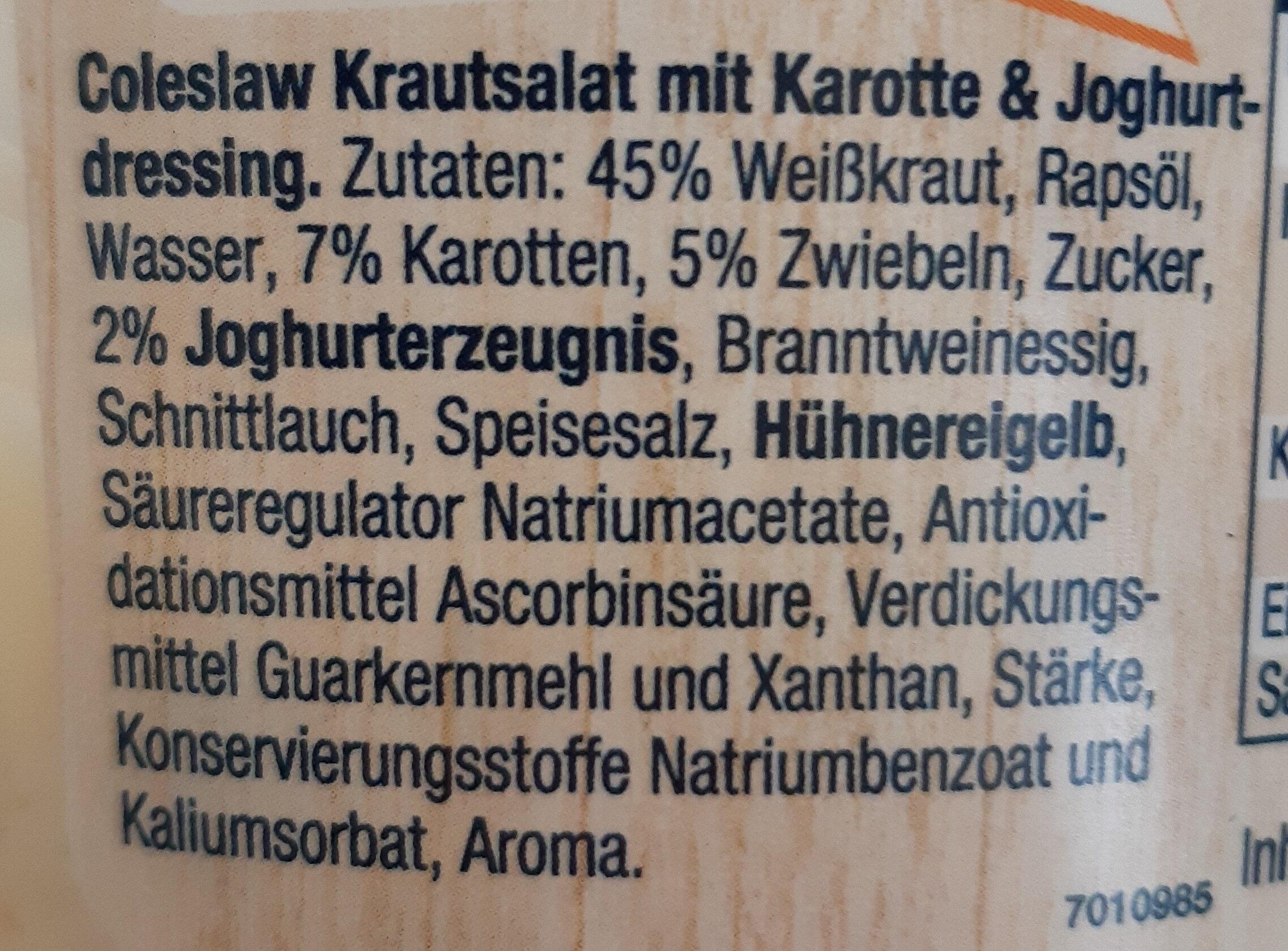 Homann Coleslaw Krautsalat - Ingredienti - de