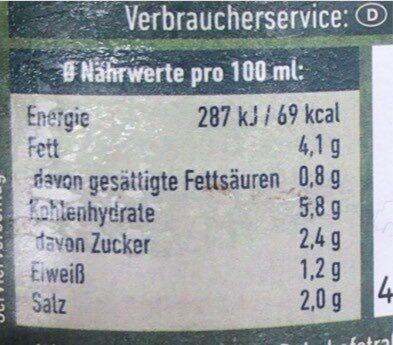 Champignon Sauce - Nährwertangaben - de