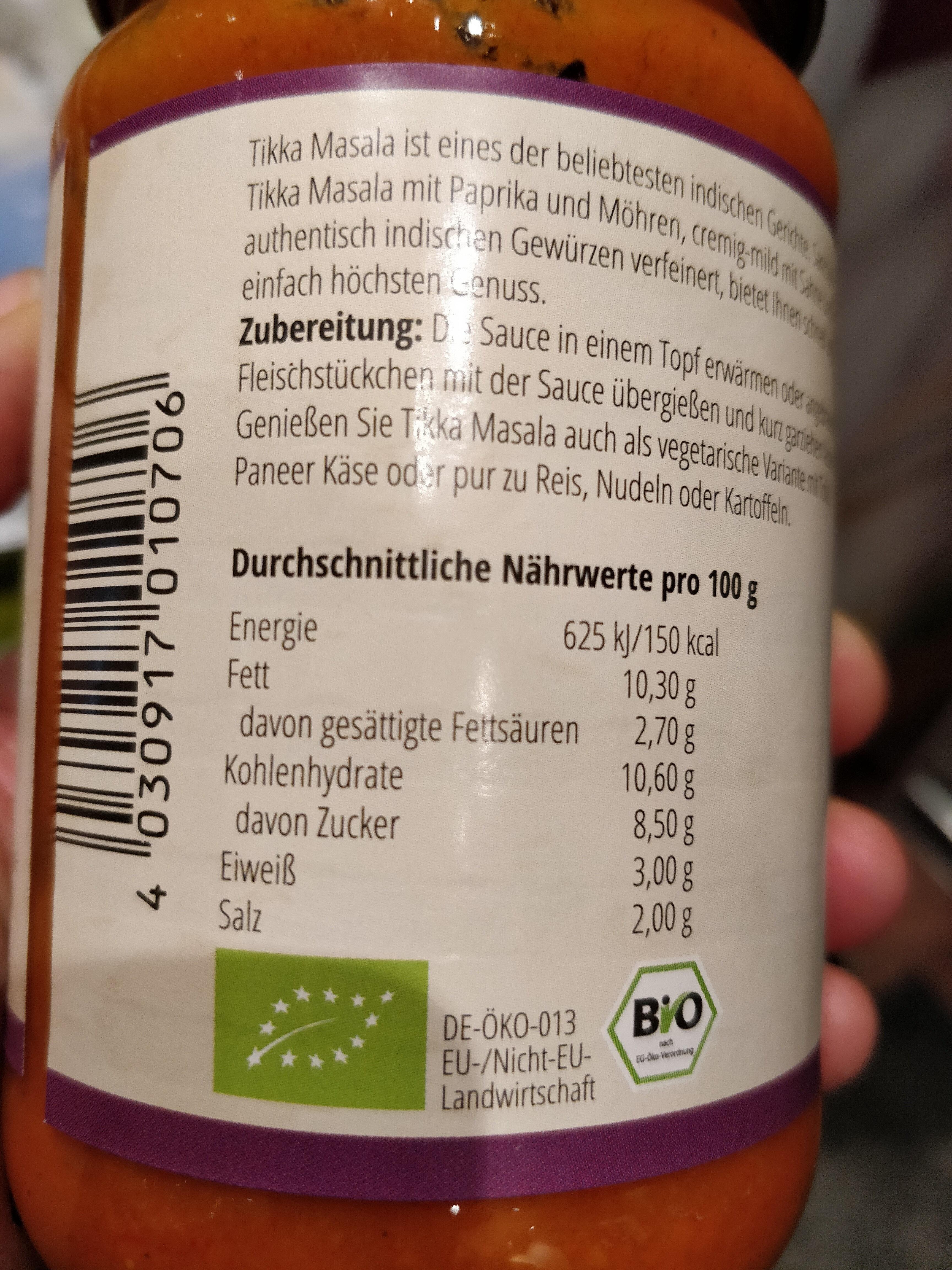Tikka Masala - Nutrition facts