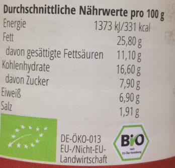 Crème Zwiebel-Walnuss - Informação nutricional
