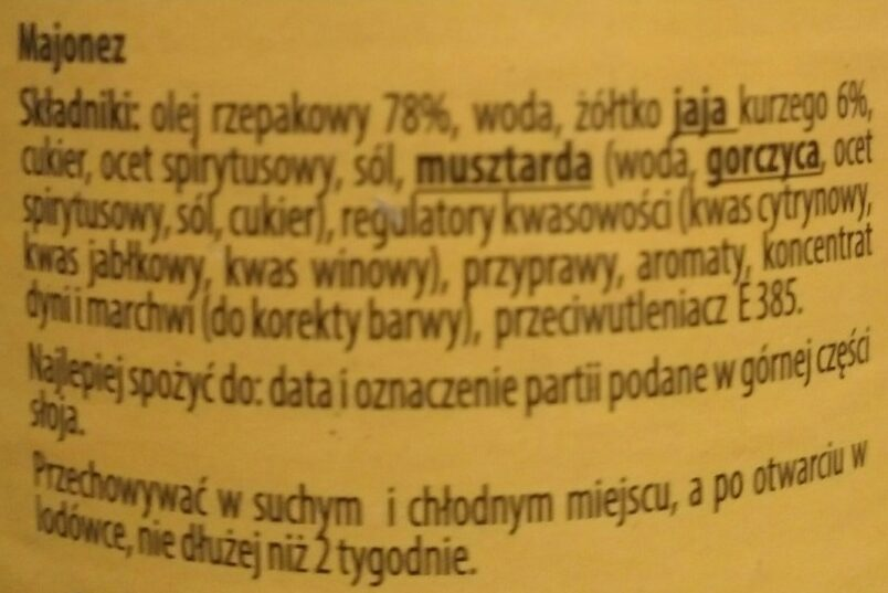 Mayonnaise - Składniki - pl