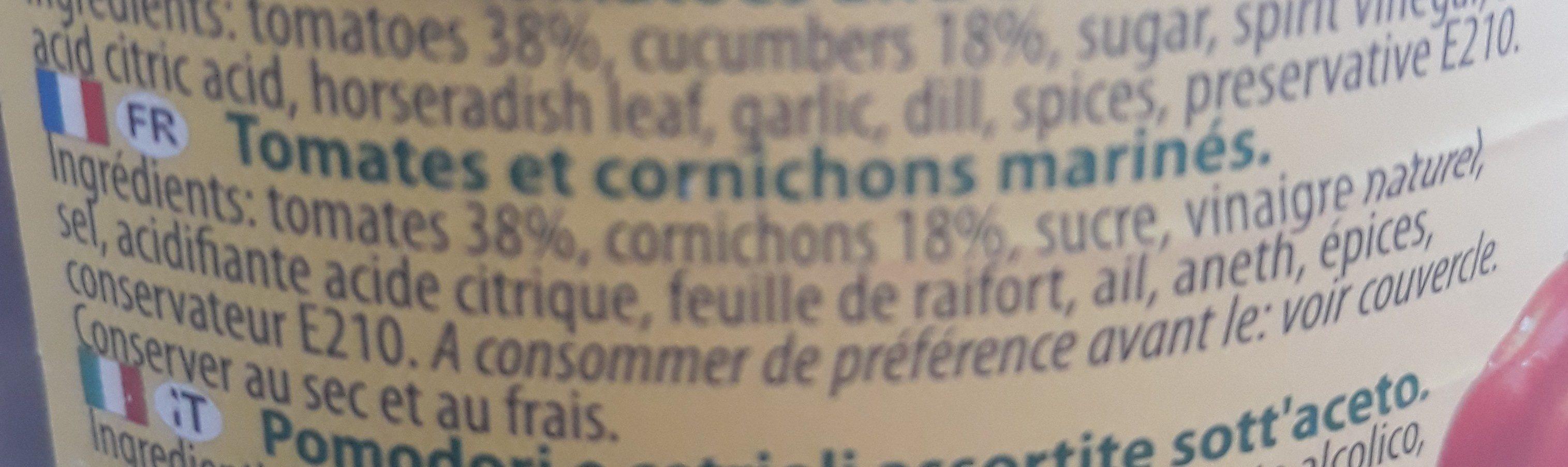 Assorti Cornichons et Tomates - Ingrédients - fr