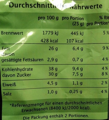Gemüse-Chips - Nutrition facts - de