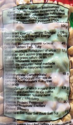 XOX Nuts Erdnüsse geröstet ohne Salz - Nährwertangaben