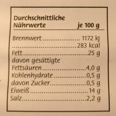 Delikatess Geflügel Wiener - Nutrition facts
