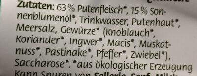 Geflügel Fleischwurst - Ingrédients - de