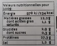 Végé'tranches Fumées biologique - Informations nutritionnelles