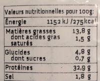 Wheaty végé'tranches à l'Italienne - Informació nutricional