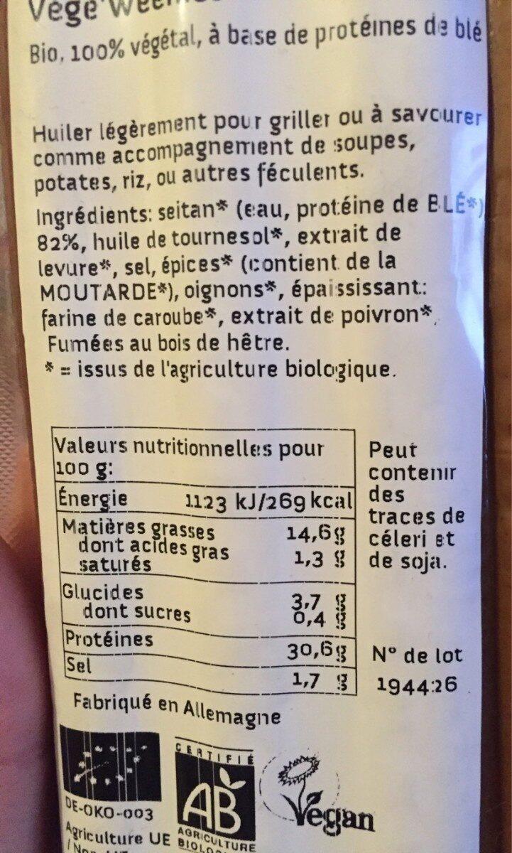 Seitan Vegansausage Hot Dog - Nutrition facts