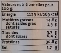 Végé' Weenles - Valori nutrizionali - fr