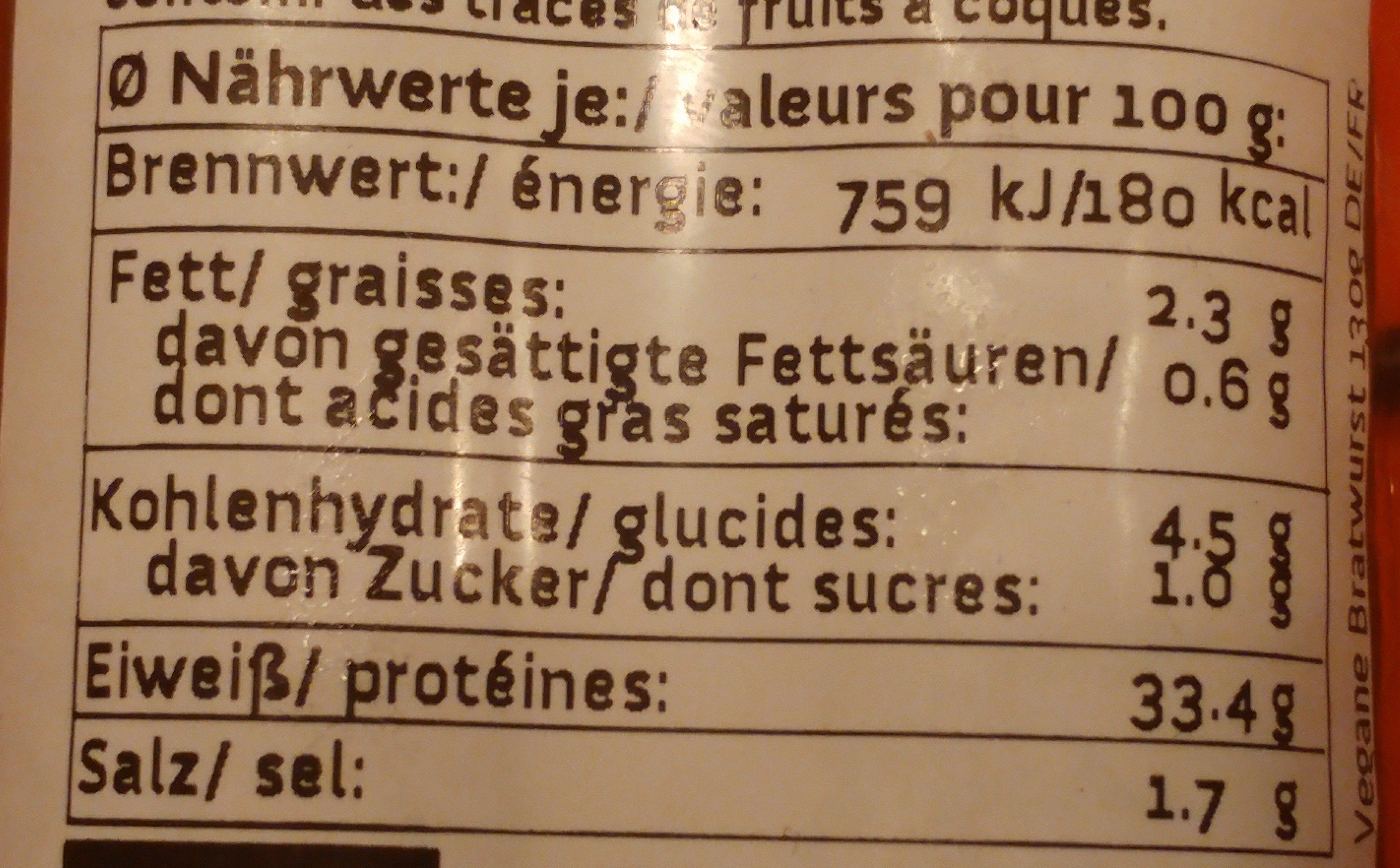 Wheaty Die Bratwurst - Nutrition facts