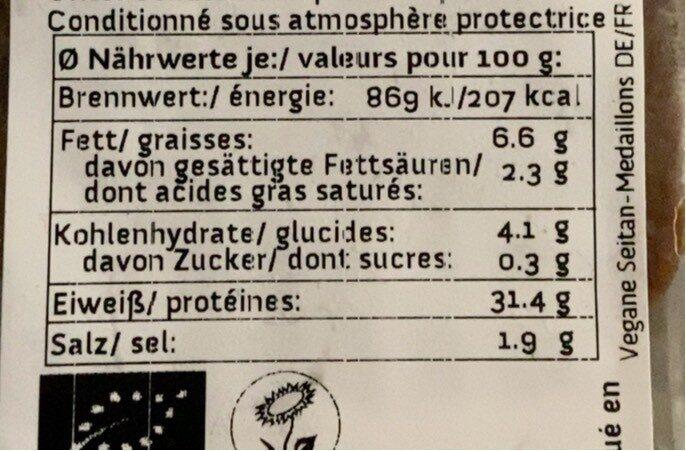 Medaillons De Seitan - Voedingswaarden - fr