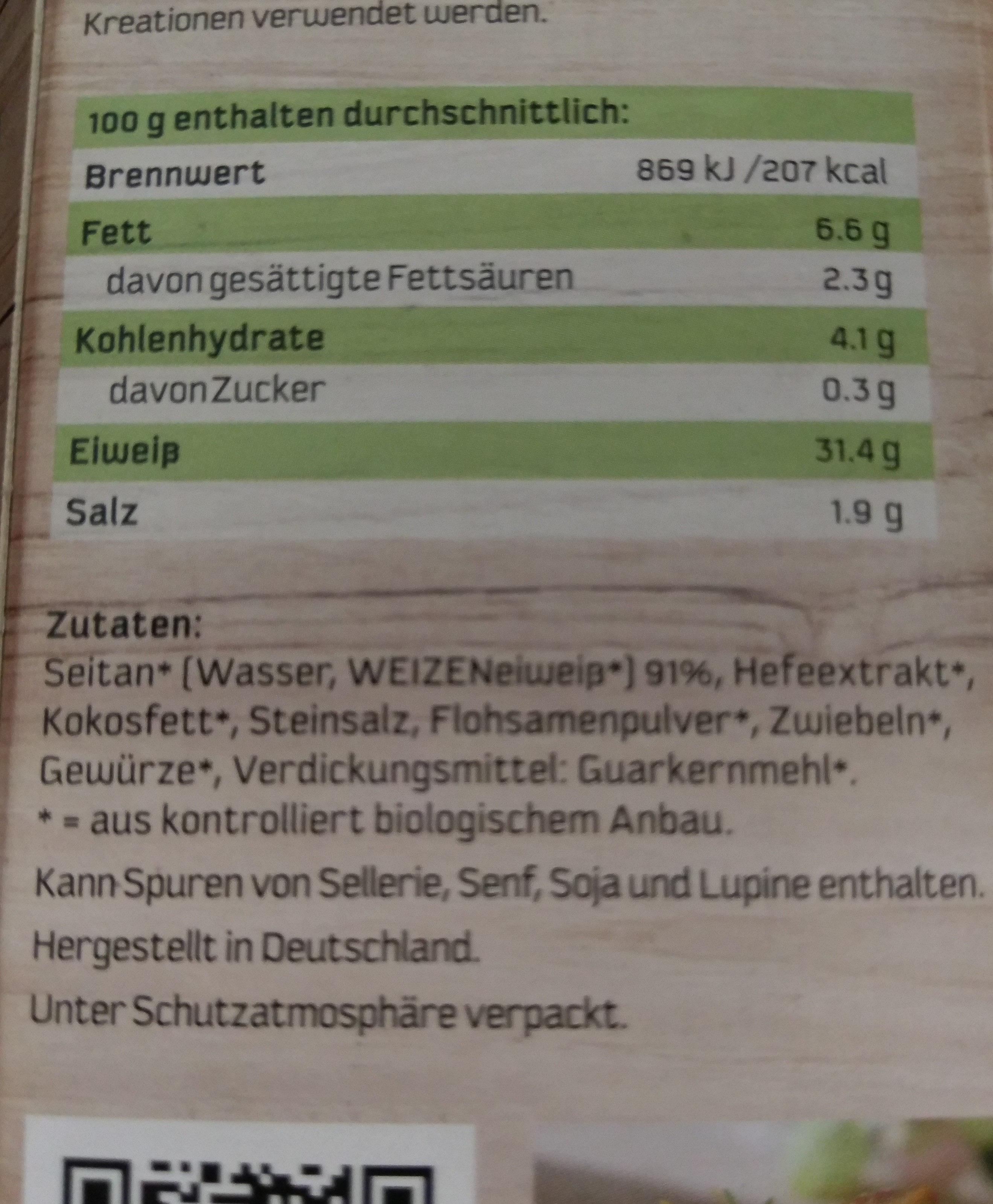 Veggyness Veganbratstück Seitan medaillons - Ingredienti - de