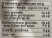 Faux-mage fumé - Informations nutritionnelles
