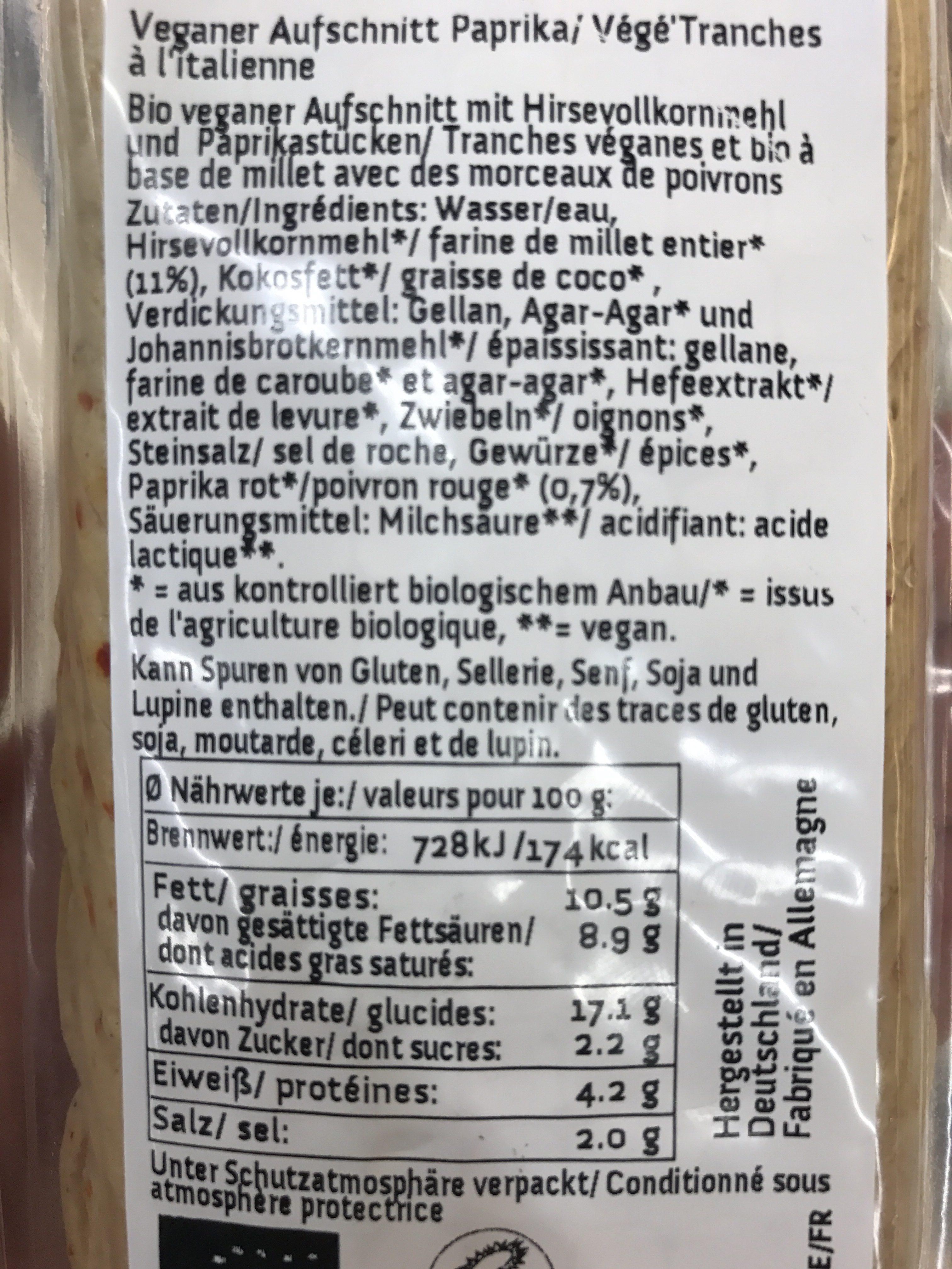 Veganer Aufschnitt Paprika - Ingrédients