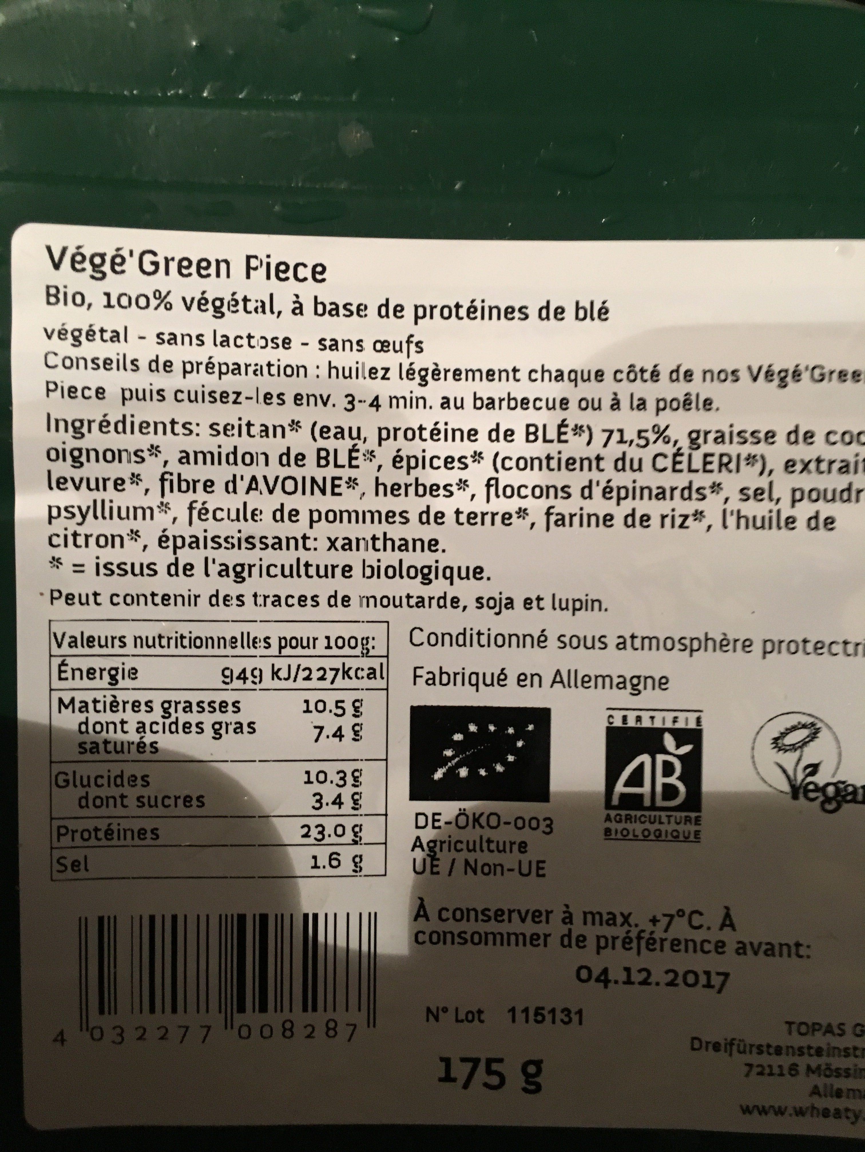 Veganbratstück Green Piece - Ingredients