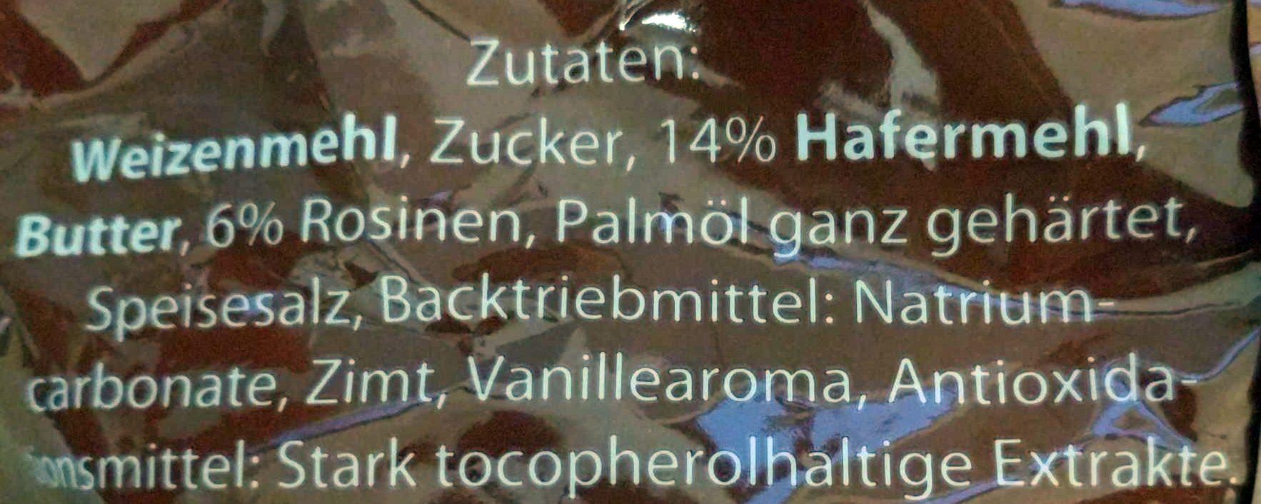 Hafergebäck mit Rosinen - Ingrédients - de