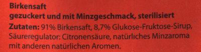 Birkensaft mit Minzgeschmack - Inhaltsstoffe