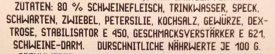 Weißwurst Heinzi - Ingredients