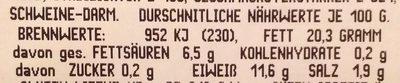 Weißwurst Heinzi - Nutrition facts