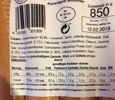 Currybockwurst - Informations nutritionnelles - de
