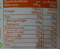 Emmentaler Zwiebel Vollkorn-Snack - Nutrition facts