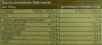 Käse & Kürbiskern - Nährwertangaben