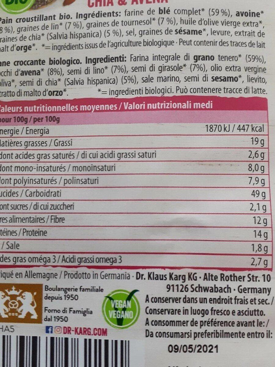 Chia & Avoine - Pain croustillant bio - Nutrition facts - fr