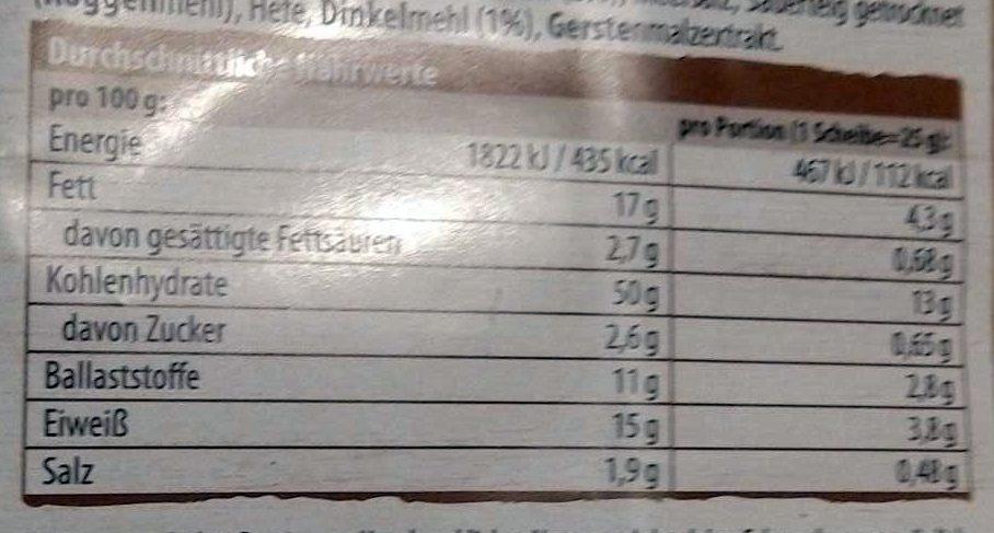 DR. Karg 5-korn Feinschmecker-knäckebrot - Nutrition facts - de