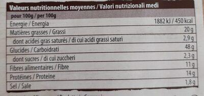Classique 3 graines - Información nutricional - fr