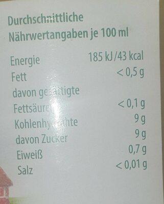 Orangensaft  100% Direktsaft - Valori nutrizionali