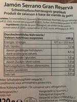 Jamon Serrano Gran Reserva - Valori nutrizionali - fr