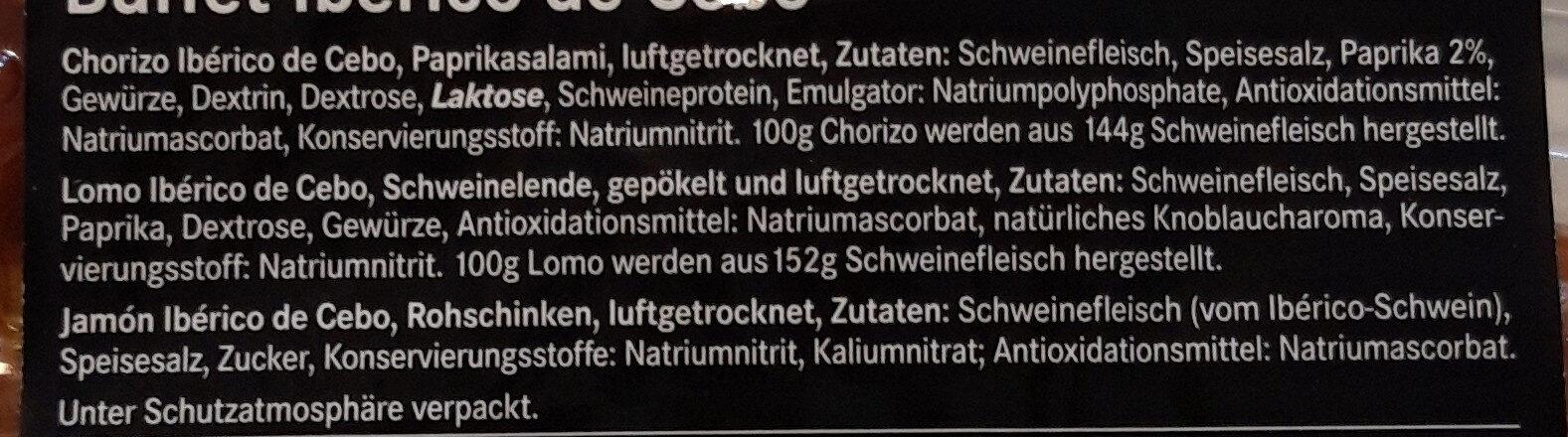 Ibérico Buffet - Inhaltsstoffe - de