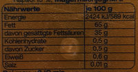 Meggle Streichzart - Nutrition facts - de