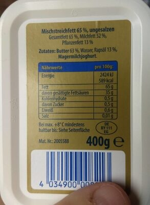 Streichzart - Nutrition facts - de