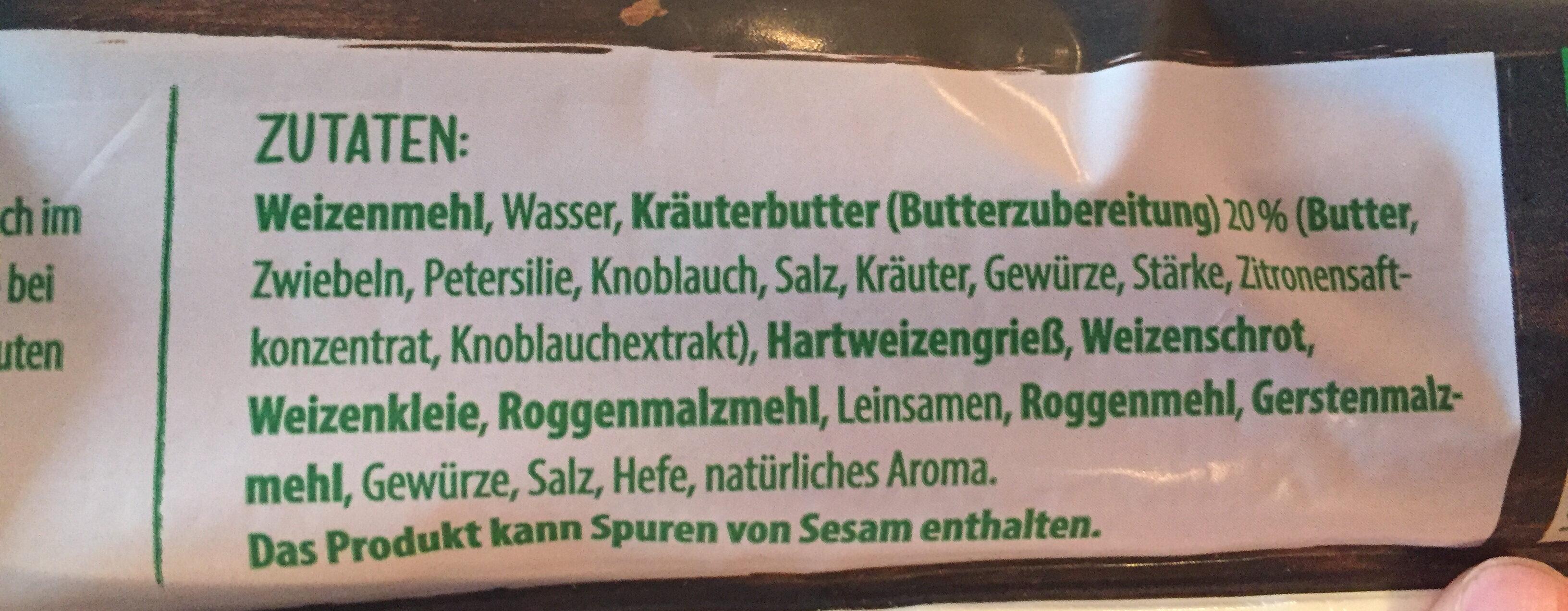 Rustikal Baguette Kräuter Butter - Ingredients - de