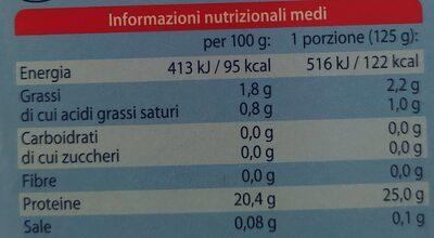 Filetto di salmone selvaggio - Informations nutritionnelles - fr