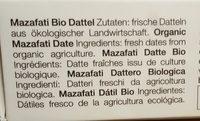 Mazafati Bio Dattel - Ingrédients - fr