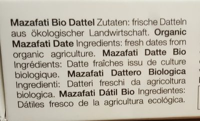 Mazafati Bio Dattel - Ingredients
