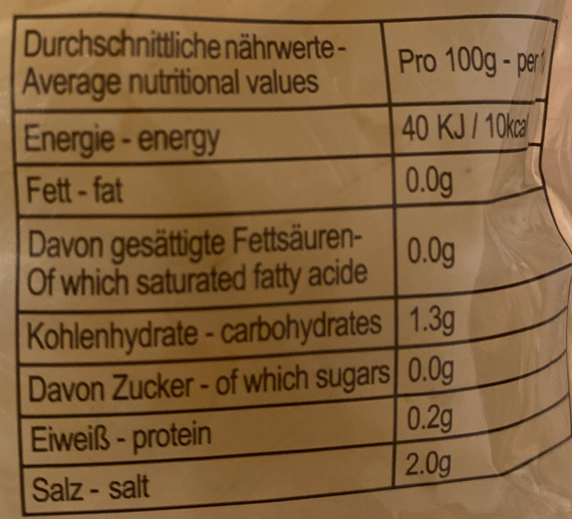 Sushi Ginger - Nutrition facts - de