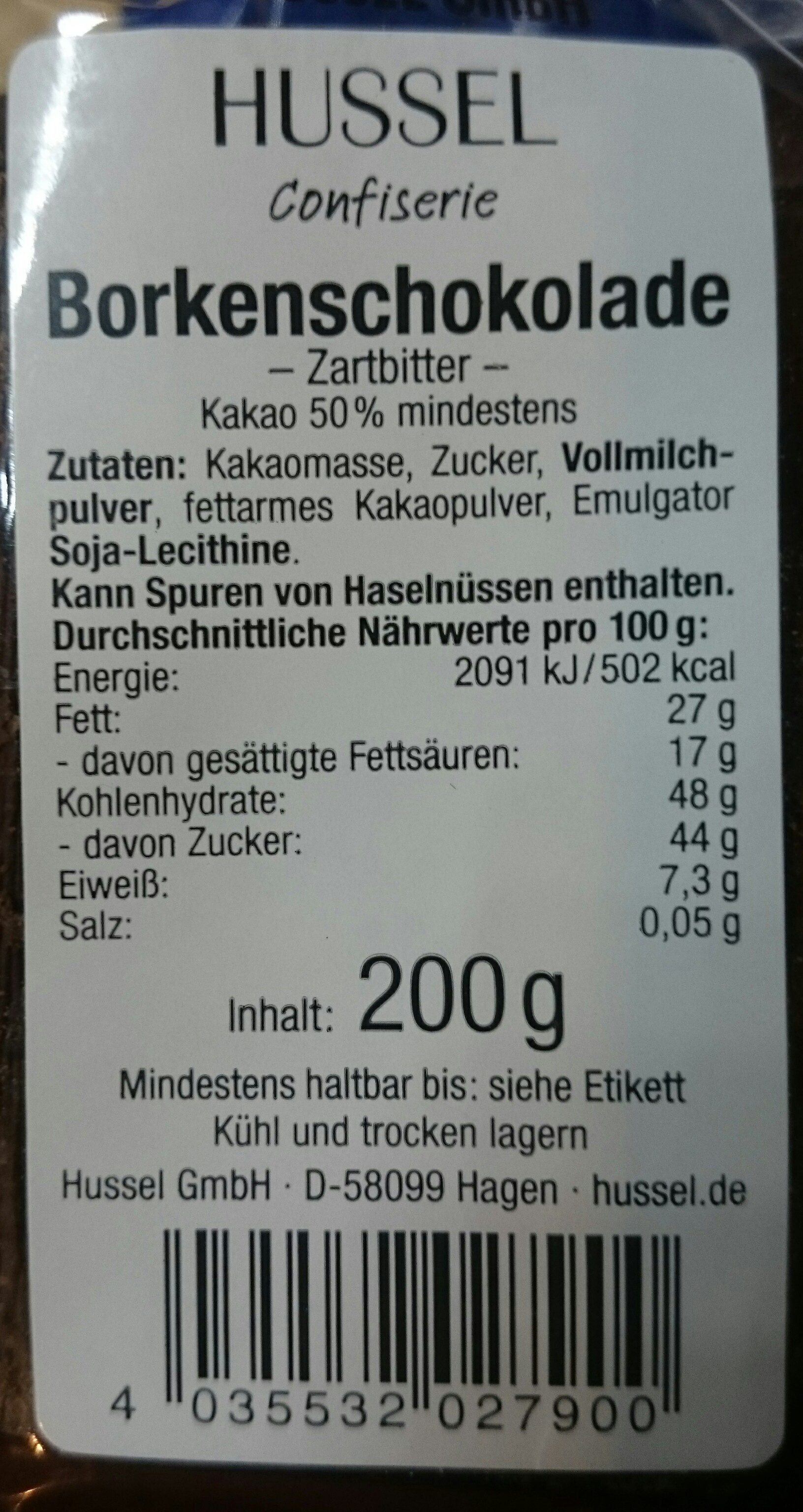 Borkenschokolade Zartbitter - Ingredients - en