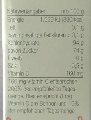 Gute Laune Drops - Nutrition facts - de