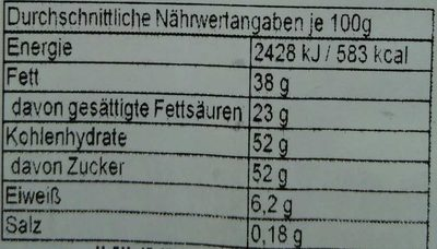 Adventskalender To Go - Nutrition facts - de