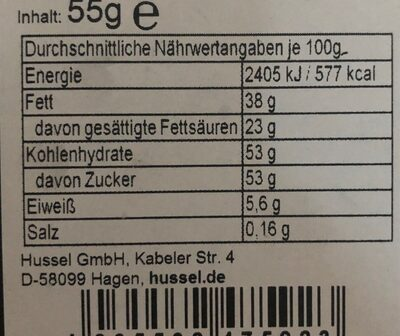 Rouge a levre chocolat - Informations nutritionnelles