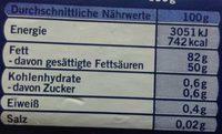 Feine Süßrahmbutter - Nährwertangaben