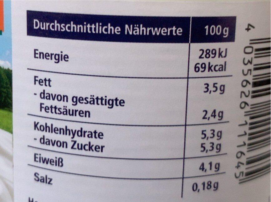 Joghurt - Valori nutrizionali - de