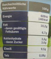 Speisequark mit Sahne - Nutrition facts - de