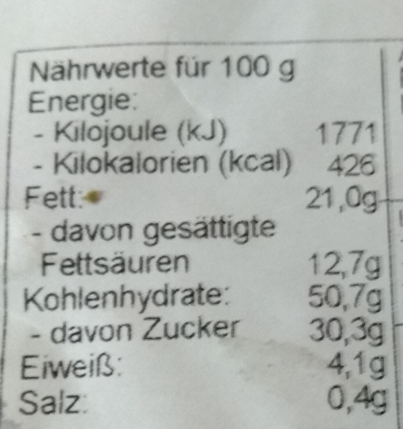 Butterstollen - Informations nutritionnelles - de