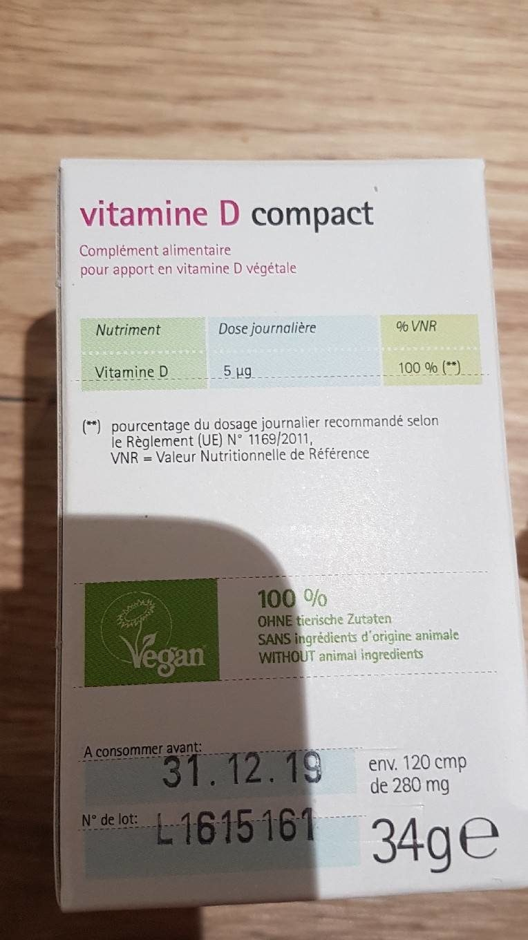 Gse Bio Vitamin D Compact - Nutrition facts