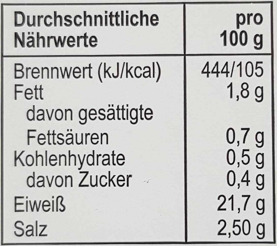 Butterschinken Ofengebacken - Nährwertangaben - de